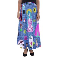 Blue Denim And Drawings Flared Maxi Skirt