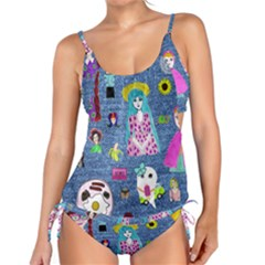 Blue Denim And Drawings Tankini Set