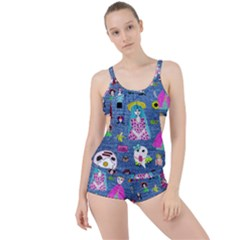 Blue Denim And Drawings Boyleg Tankini Set