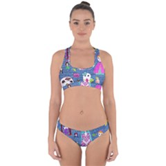 Blue Denim And Drawings Cross Back Hipster Bikini Set