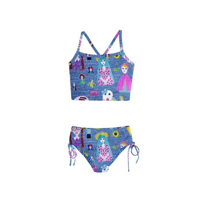 Blue Denim And Drawings Girls  Tankini Swimsuit