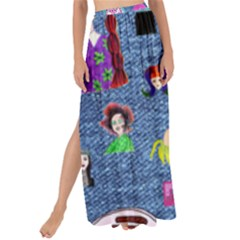 Blue Denim And Drawings Maxi Chiffon Tie-Up Sarong