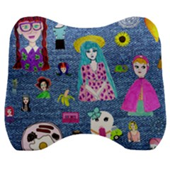 Blue Denim And Drawings Velour Head Support Cushion