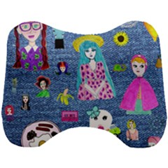Blue Denim And Drawings Head Support Cushion