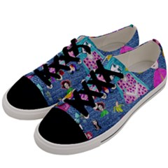 Blue Denim And Drawings Men s Low Top Canvas Sneakers