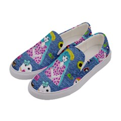 Blue Denim And Drawings Women s Canvas Slip Ons