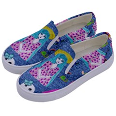 Blue Denim And Drawings Kids  Canvas Slip Ons