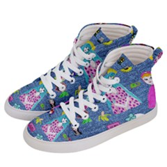 Blue Denim And Drawings Women s Hi-Top Skate Sneakers