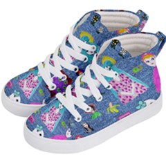Blue Denim And Drawings Kids  Hi-Top Skate Sneakers