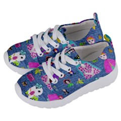 Blue Denim And Drawings Kids  Lightweight Sports Shoes