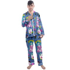 Blue Denim And Drawings Men s Long Sleeve Satin Pyjamas Set
