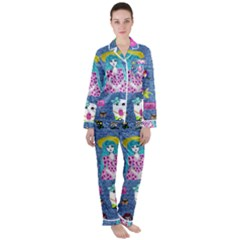 Blue Denim And Drawings Satin Long Sleeve Pyjamas Set