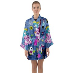 Blue Denim And Drawings Long Sleeve Satin Kimono
