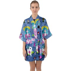 Blue Denim And Drawings Half Sleeve Satin Kimono