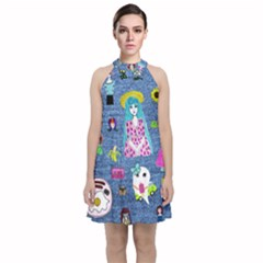 Blue Denim And Drawings Velvet Halter Neckline Dress