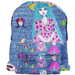 Blue Denim And Drawings Giant Full Print Backpack