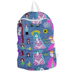 Blue Denim And Drawings Foldable Lightweight Backpack