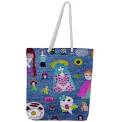 Blue Denim And Drawings Full Print Rope Handle Tote (Large)