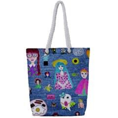 Blue Denim And Drawings Full Print Rope Handle Tote (Small)
