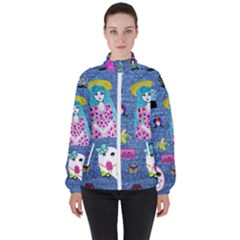 Blue Denim And Drawings Women s High Neck Windbreaker