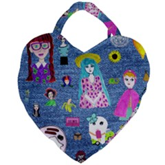 Blue Denim And Drawings Giant Heart Shaped Tote