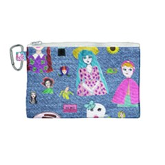 Blue Denim And Drawings Canvas Cosmetic Bag (Medium)