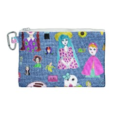Blue Denim And Drawings Canvas Cosmetic Bag (Large)