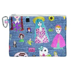 Blue Denim And Drawings Canvas Cosmetic Bag (XL)