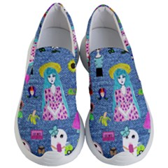 Blue Denim And Drawings Women s Lightweight Slip Ons