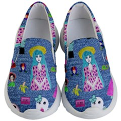 Blue Denim And Drawings Kids Lightweight Slip Ons