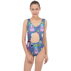 Blue Denim And Drawings Center Cut Out Swimsuit