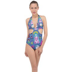 Blue Denim And Drawings Halter Front Plunge Swimsuit