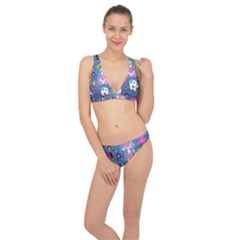Blue Denim And Drawings Classic Banded Bikini Set