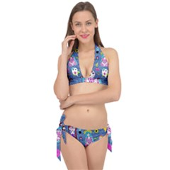 Blue Denim And Drawings Tie It Up Bikini Set