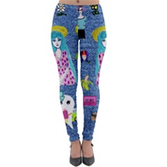 Blue Denim And Drawings Lightweight Velour Leggings