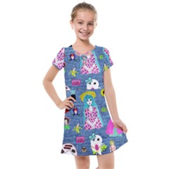Blue Denim And Drawings Kids  Cross Web Dress