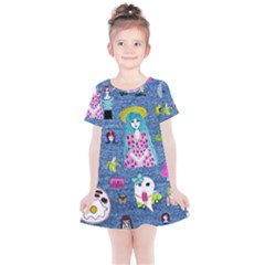 Blue Denim And Drawings Kids  Simple Cotton Dress