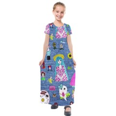 Blue Denim And Drawings Kids  Short Sleeve Maxi Dress