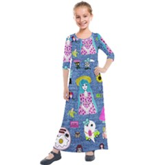 Blue Denim And Drawings Kids  Quarter Sleeve Maxi Dress