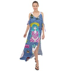 Blue Denim And Drawings Maxi Chiffon Cover Up Dress