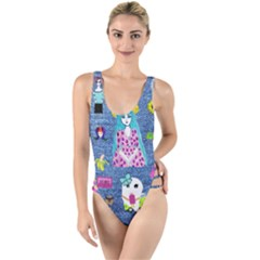 Blue Denim And Drawings High Leg Strappy Swimsuit