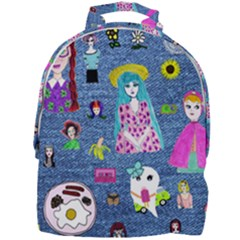 Blue Denim And Drawings Mini Full Print Backpack