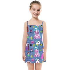 Blue Denim And Drawings Kids  Summer Sun Dress