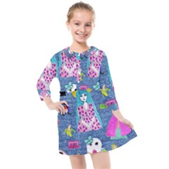 Blue Denim And Drawings Kids  Quarter Sleeve Shirt Dress