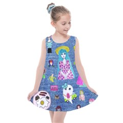 Blue Denim And Drawings Kids  Summer Dress