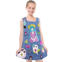 Blue Denim And Drawings Kids  Cross Back Dress