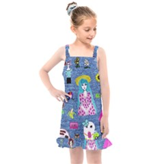 Blue Denim And Drawings Kids  Overall Dress