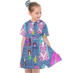 Blue Denim And Drawings Kids  Sailor Dress