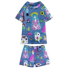Blue Denim And Drawings Kids  Swim Tee and Shorts Set