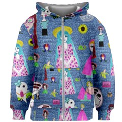 Blue Denim And Drawings Kids  Zipper Hoodie Without Drawstring